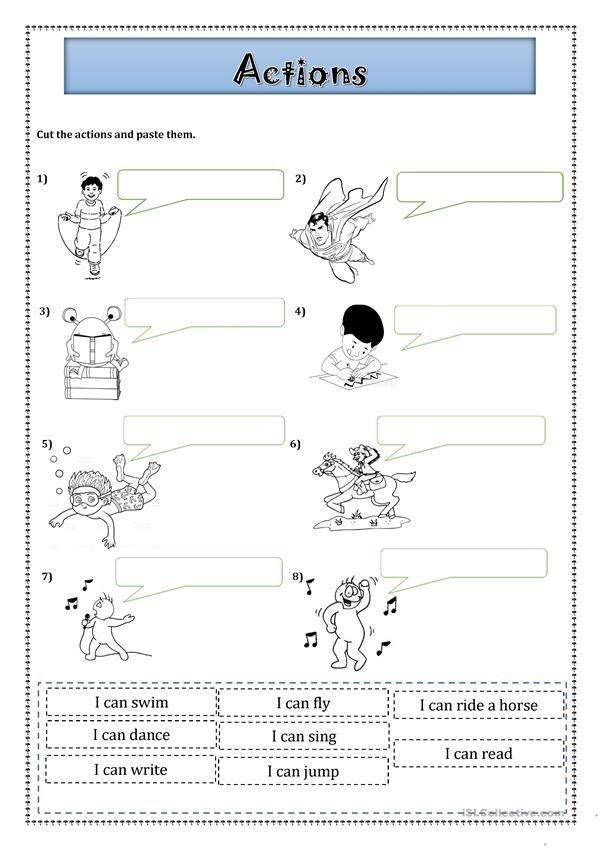 Can Action verbs Aulas de inglês, Atividades de ingles