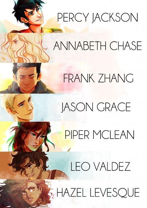 Percy Jackson, Annabeth Chase, Frank Zhang, Jason Grace, Piper Mclean, Leo Valdez and Hazel Levesque. Art by Viria.