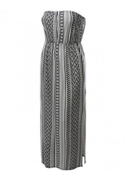 Tribal Geometric Print Strapless Maxi Skirt Dress #jtomsonplussize