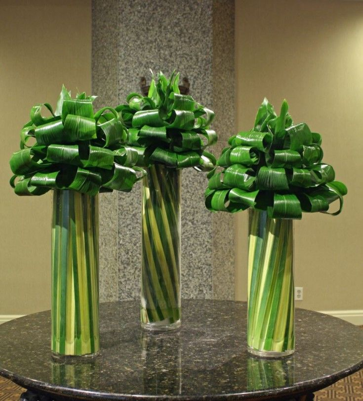 Lobby flowers by Crossroads Florist in Mahwah NJ - I like the idea of using foliage as the focal