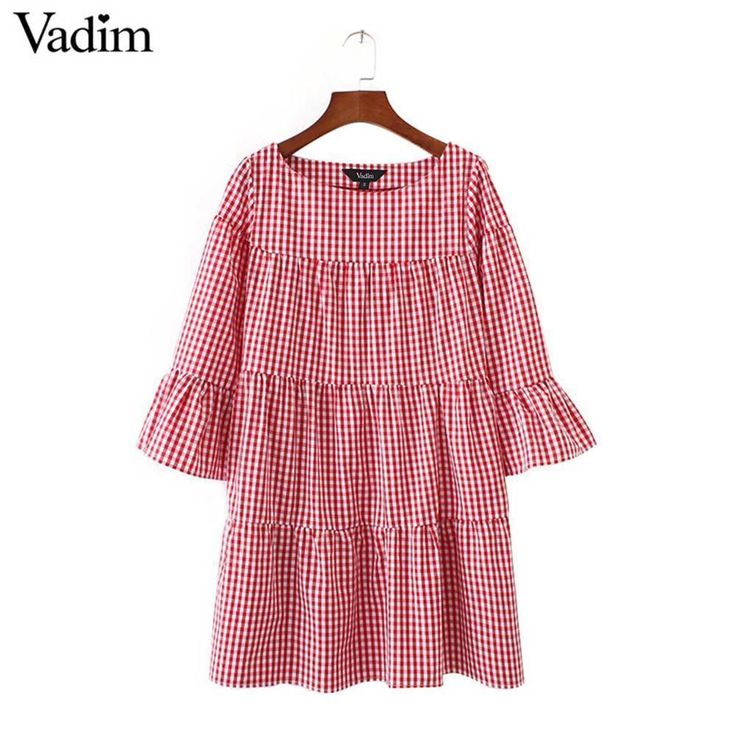 Women oversized pleated plaid dress summer elegant checkered flare sleeve loose 3