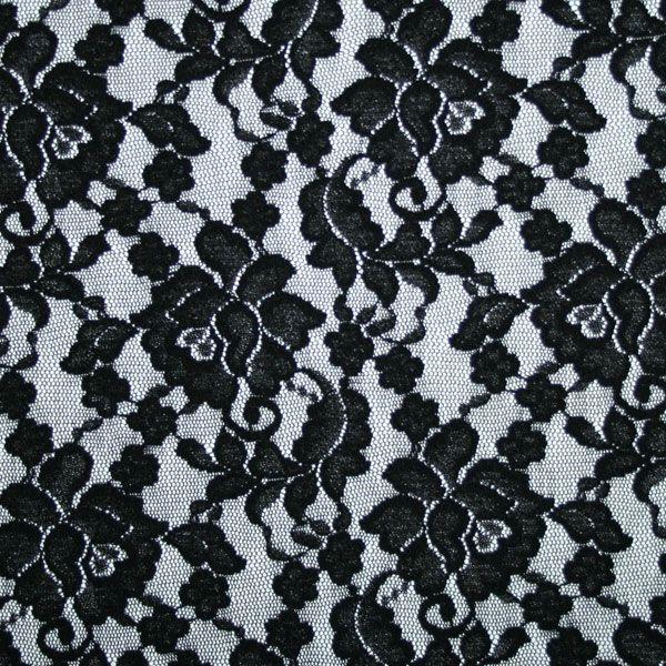 Perugia Soft Stretch Lace. Black. 135cm Wide.