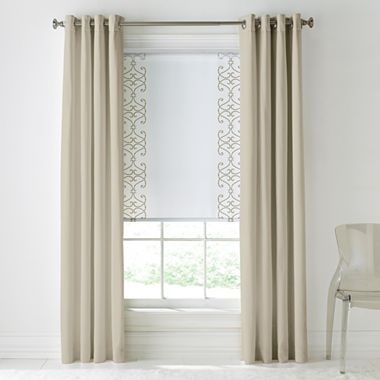 Cindy Crawford Style® Prelude Grommet-Top Drapery Panel  $40  coordinating roller shade with panel.  white lining