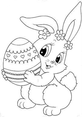 Pâques : Lapin & l'oeuf - kleurplaat pasen - coloring page easter