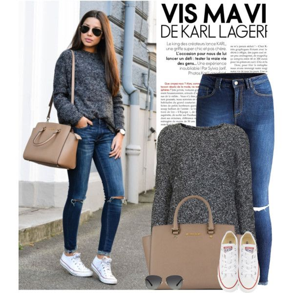 In Converse by monmondefou on Polyvore featuring polyvore, fashion, style, Topshop, Converse, MICHAEL Michael Kors and Michael Kors