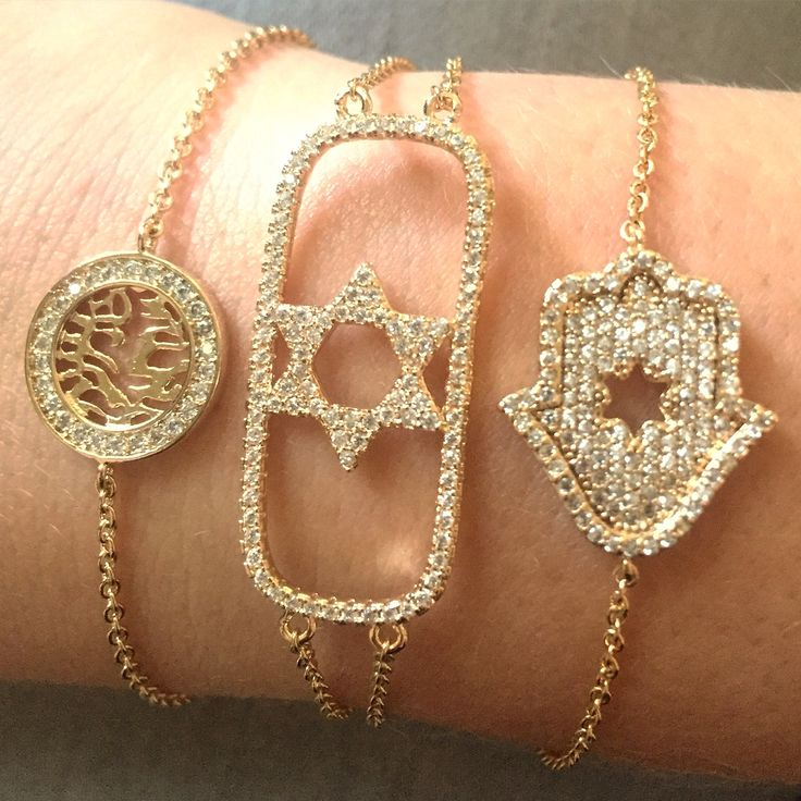 Stackable jewish bracelets, shema Israel bracelet, star of David bracelet and hamsa bracelet all available in our online store - free shipping worldwide from Israel