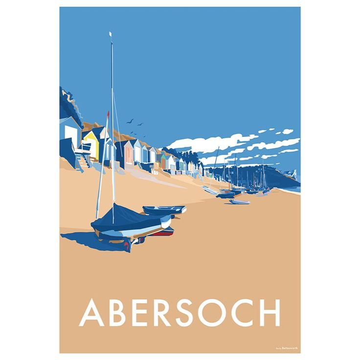 Abersoch is available to buy at www.beckybettesworth.co.uk #vintage #devonartist #travelposters #seasideprints #abersoch #gwynedd #wales #Llanengan #beckybettesworth