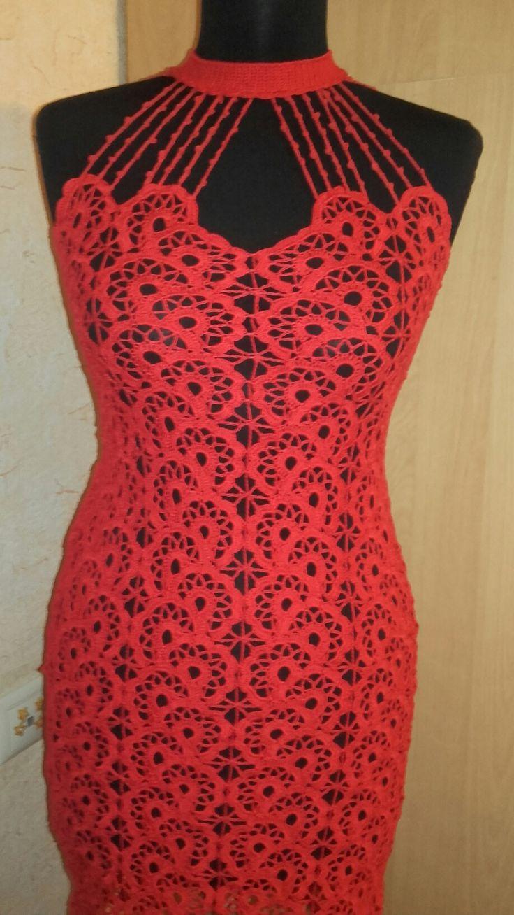 """Платье 46 размер. Связано из мерсеризованного хлопка """"Анна 16"""". Крючки номер 2 и 1.5"""