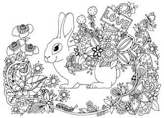 vector illustration zentangl hare with a pointer love in the floral frame coloring book anti stress for adults