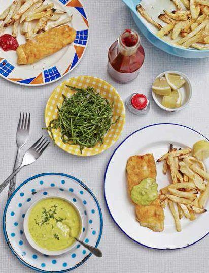Fish and Celeriac Chips with Tartare Sauce