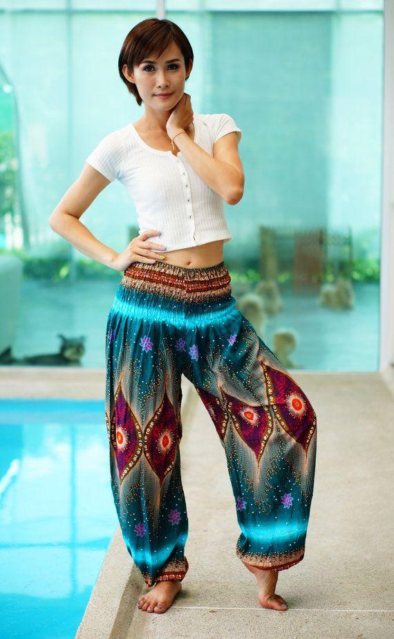Peacock broek, Aladin broek, Azteekse etnische Print, Boho Strenchy broek, elastische taille kleding strand vrouwen Baggy Casual PN500499