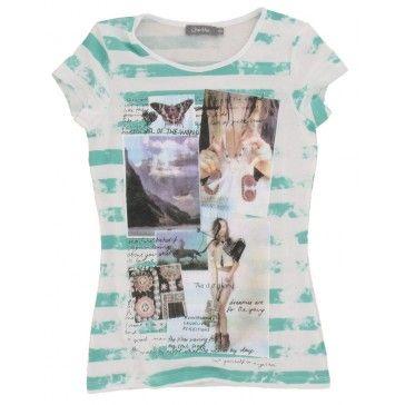 Geisha - T-shirt Streep mint