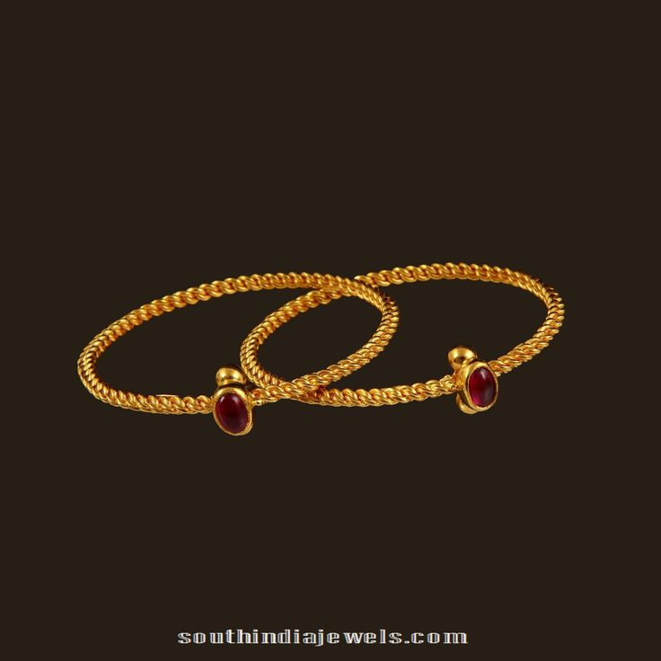 22k gold ruby baby bangle from Vummudi Bangaaru Jewellers. Approximate weight 17.22 grams. This can also be used as baby anklet (kolusu).