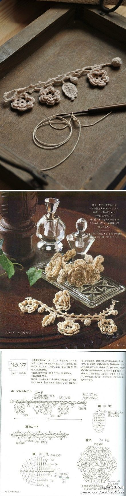Irish Crochet Bracelet 編み物のブレスレット|わさびアイスクリーム