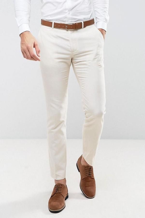 831f293808e Farah Wedding Skinny Suit Trousers In Linen - Stone - Asaan United ...