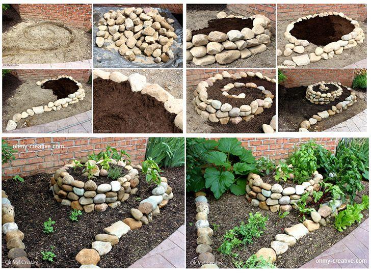 Confira o passo a passo de como fazer um jardim diferente combinando pedras em espiral