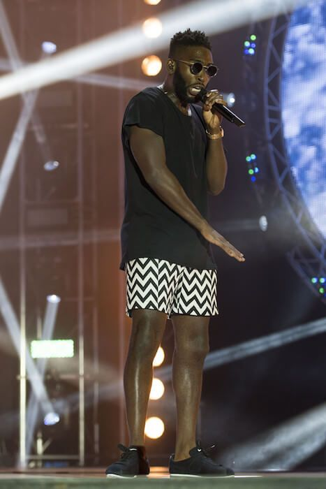 Tinie Tempah performing at MTV Crashes Plymouth in 2014...