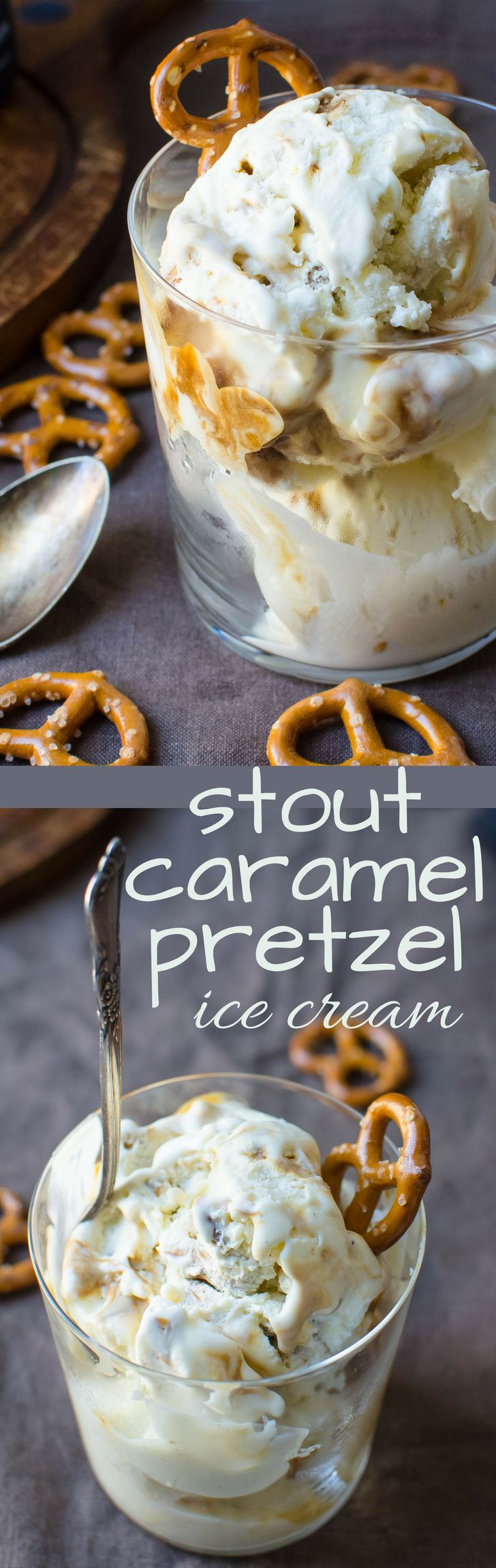 This Irish Stout sweet treat made with Guinness is rich and creamy! Stout Caramel Pretzel Ice Cream is bar foods answer to dessert! #icecream #guinness #stout #caramelsauce #pretzels #homemadeicecream #stpattysday #stpattysdessert #stpatricksday #dessert