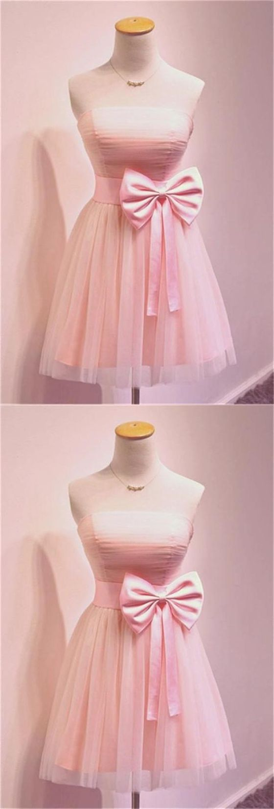 Pink A Line Strapless Tulle Homecoming Dresses Cocktail Dresses With Bow