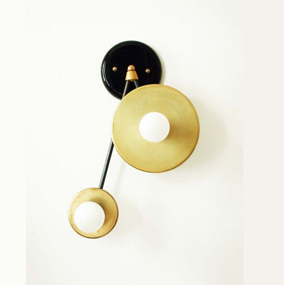 Modern Wall Sconce Double Brass Lamp Wall Light by DLdesignworks