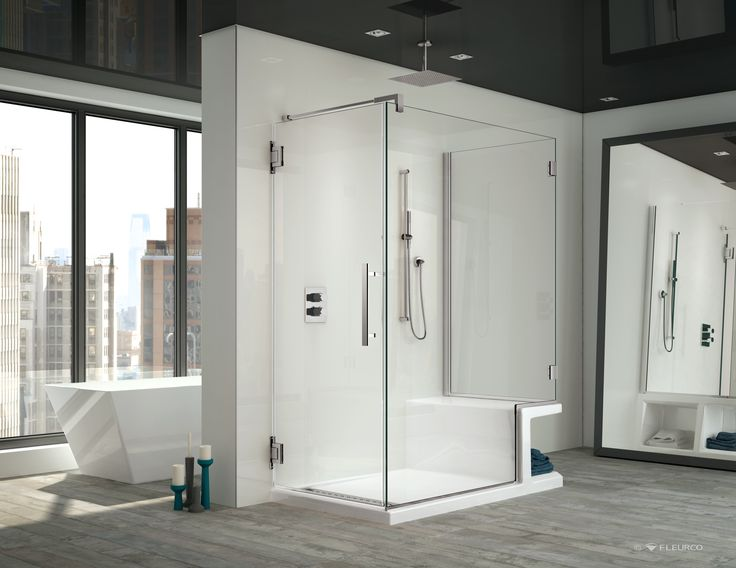CORTEROS SHOWER BASE WITH SEAT WITH TITAN SHOWER DOOR. Both Products By  Fleurco