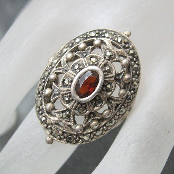 Fabulous Sterling Marcasite Garnet Ring