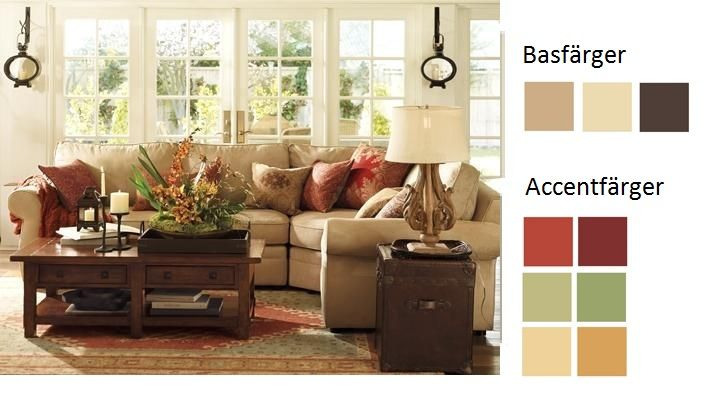 Färgpalett för vardagsrum - jordiga, varma färger.