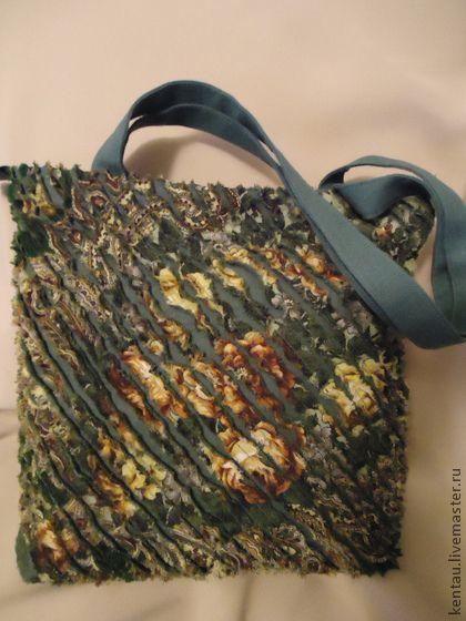 """Сумка """"Зеленая синель"""" - тёмно-зелёный,павловопосадский платок,узор,лен"""