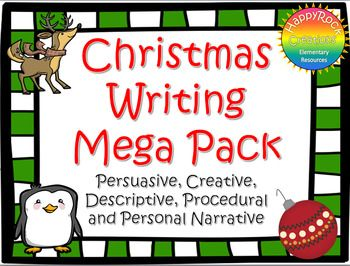 This bundle includes 5 of my individual writing packages. Please check the individual listings if you'd like to see individual previews. Christmas Creative Writing Package includes a mini-lesson, graphic organizer (story map), fun Christmas vocabulary activity, 5 holiday writing prompts, Christmas writing paper and a self-assessment checklist.