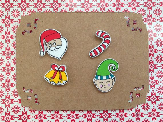 Christmas New Year Themed Illustrated Cute Collar by HappyMarker #collarpin #handmade #cute #illustration