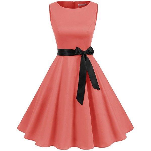 Gardenwed Women's Vintage 1950s Rockabilly Audery Swing Dress... ($27) ❤ liked on Polyvore featuring dresses, prom dresses, vintage dresses, retro prom dresses, cocktail prom dress and sleeveless swing dress