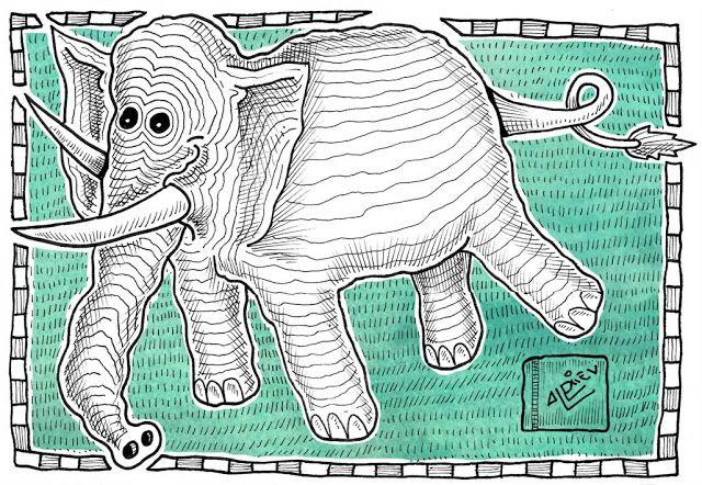 Ilustrador Alexiev Gandman: Elefante color versus Elefante blanco y negro