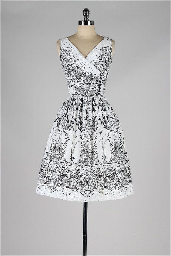 1950's Black & White Print Dress