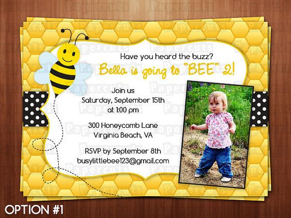 Printable DIY Black And Yellow Honey Bee By PapercutsPartyShop 1200 ThemeBusy BeeBirthday Party InvitationsBirthday
