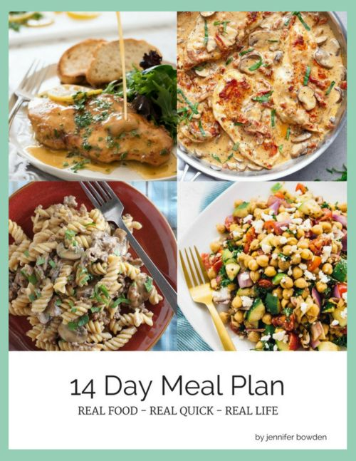Grab a FREE copy of this 14 Day Dinner Plan! Packed with recipes to make your days so much easier! byReal Food Real Quick Real Life by Jennifer Bowden