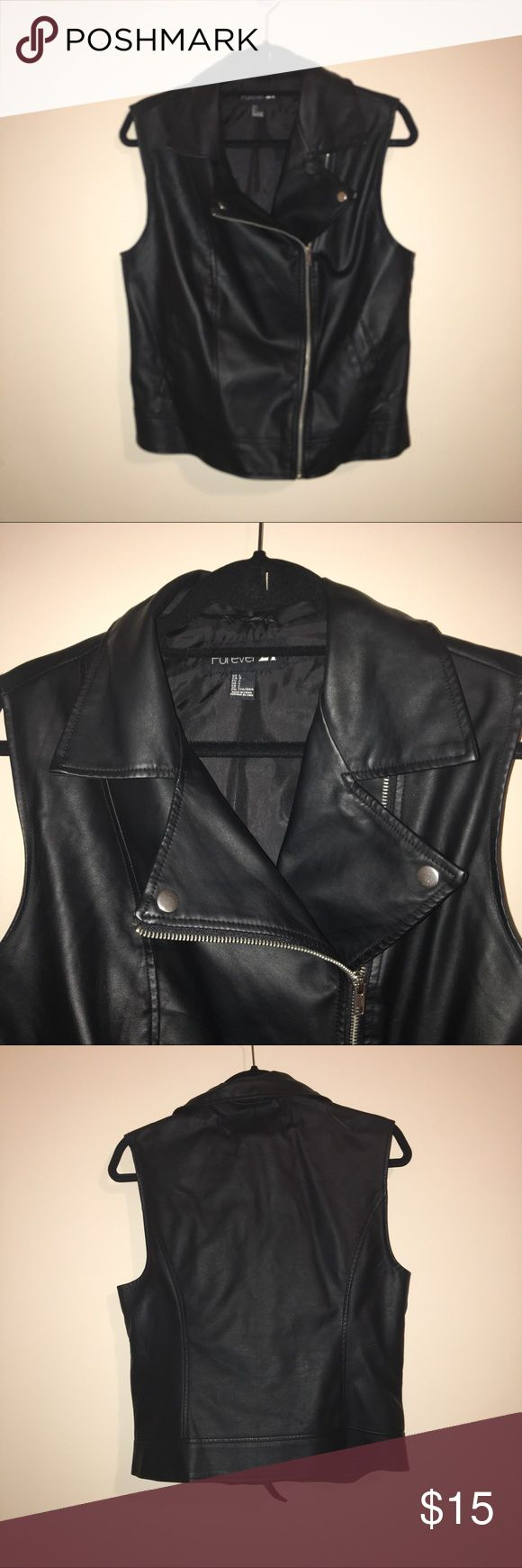 Faux Leather Biker Vest Faux leather biker/motto vest for Forever 21. Great for layering. I have worn this vest in all seasons including cool summer nights. Forever 21 Jackets & Coats Vests