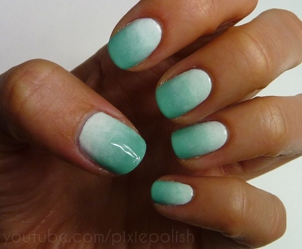 My friend Jaimie would love these nails :) Seafoam Gradient Nail Art