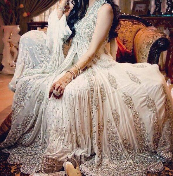 Pakistani bridal lehenga. White. Silver. Indian. Dress. Gorgeous.