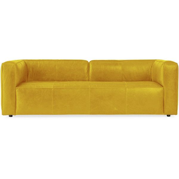 Joybird Logan Mid Century Modern Yellow Leather Sofa (51.120 CZK) ❤ Liked  On Polyvore Featuring Home, Furniture, Sofas, Yellow, Mid Century Modern  Couch, ...