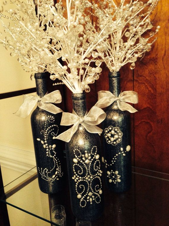 3 decorated Wine Bottle Centerpiece with Crystal insert,, Black  Silver. Wine Bottle Decor. Wedding Table Centerpieces. Centerpiece Ideas on Etsy, $99.00