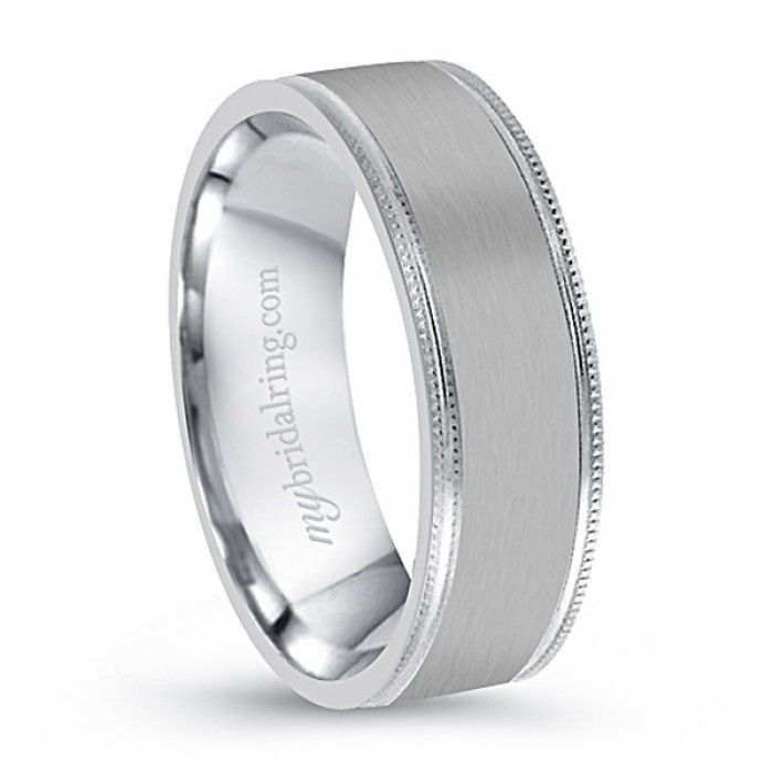 Angara Milgrain Sided Mid-Weight Comfort Fit Mens Wedding Band in Platinum