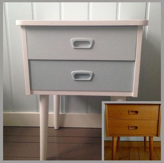 Morfars gamle teak-nattbord ble nytt med litt hvit maling. Skuffene ble malt med Jotuns farger Sval Sjø og Sjøgløtt