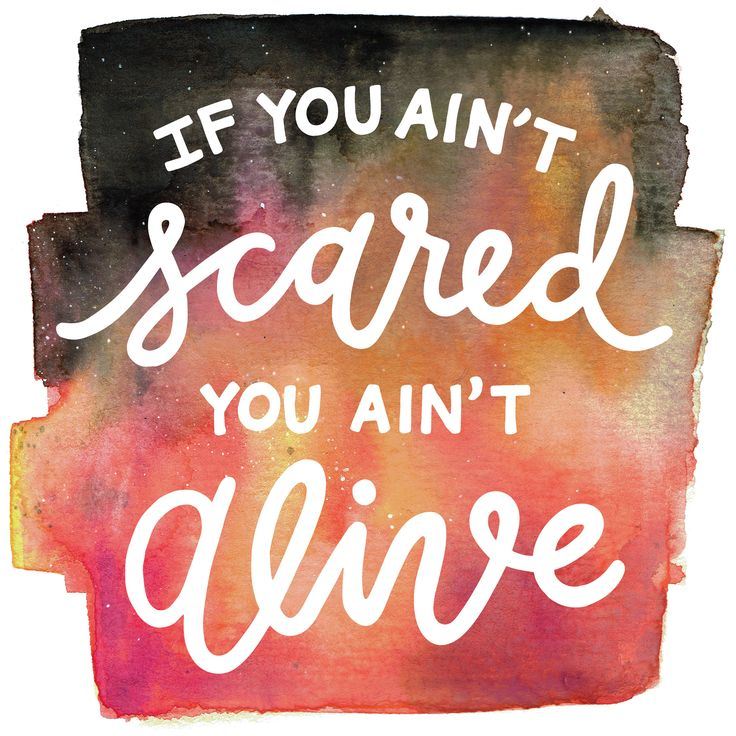 It's okay to be scared sometimes! Hand lettering by @joannar