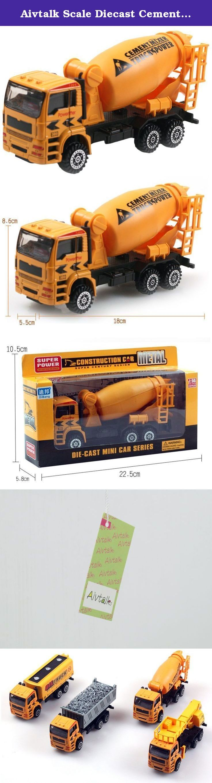 Aivtalk Scale Diecast Cement Mixer Truck Construction Vehicle Transport Car Carrier Truck Toy Model Cars for Boys. Features: Super cool gift for kids Completely non-toxic, safe for children Designed with realistic features in a smaller scale Specifications: Material: Metal & Plastic Scale:1:50 For Ages: 3 years and up Dimensions: approx. 18*8.6*5.5cm Color:As picture Package includes: 1 * Toy truck.