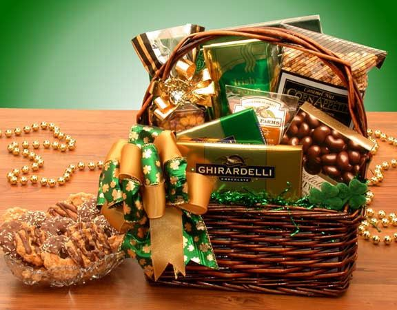 8 best basket ideas irish images on pinterest the irish gift the luck o the irish st patrick himself would be green with envy over this basket of treats a beautifully dark stained basket encompasses an array of negle Image collections