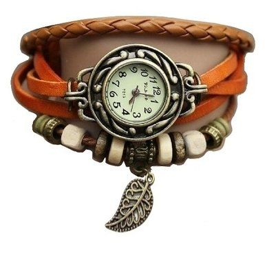 Orange Feuille Montre - Bracelet cuir - Weave Wrap Around- Quartz Mode Rétro - Montre de femmes de dames + Gratuit Poche Caisse