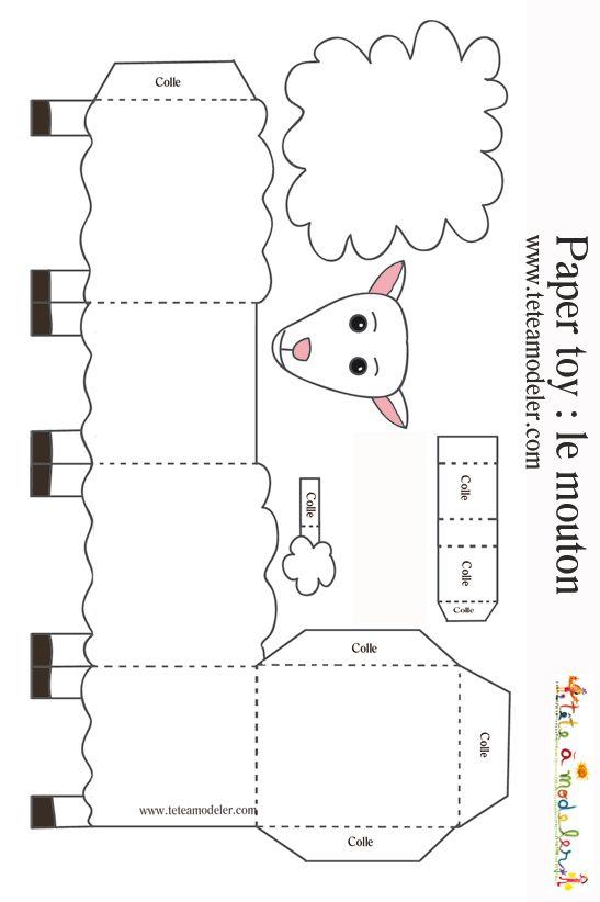 Mouton à imprimer pour faire un paper toy - Tête à modeler