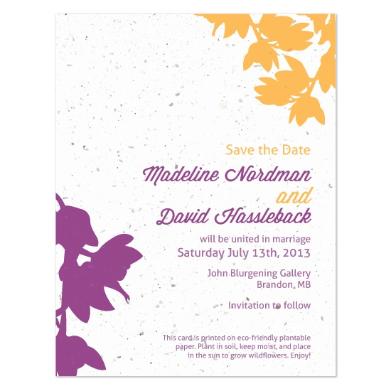 @2.00 each for 100-199 cards. Plantable modern orchid save the date cards, grey or white envelopes included.
