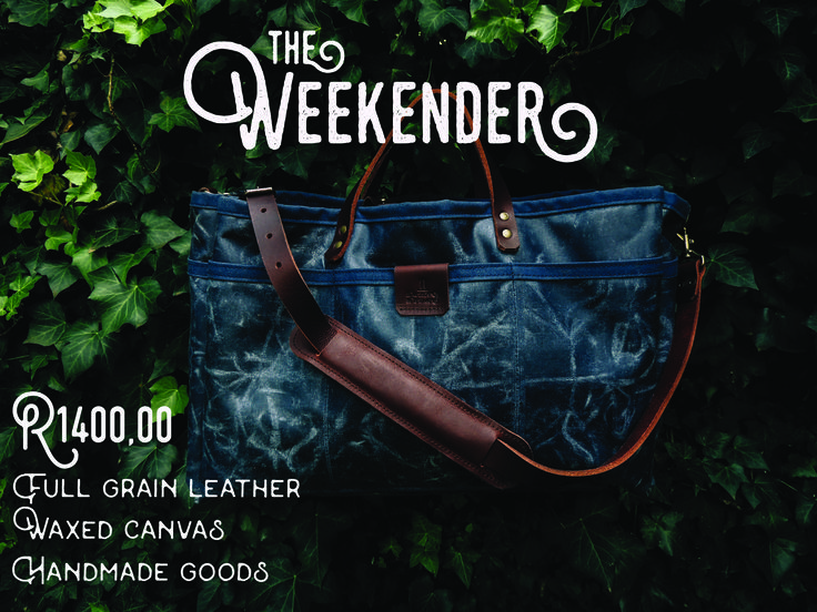 The Weekender. This sturdy bag will surely not disappoint with its 7 small/medium-sized exterior pockets and a very roomy interior. The waxed canvas makes the bag water and rot resistant. The full grain leather shoulder strap and handles will get you through many a weekend away! (Available in Navy Blue and Olive Green)