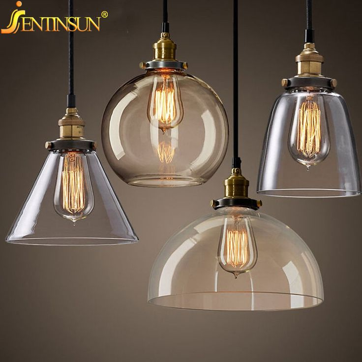 Ретро старинные подвесные светильники прозрачное стекло абажур лофт современные лампы led e27 110 В 220 В для столовой дома освещение украшения
